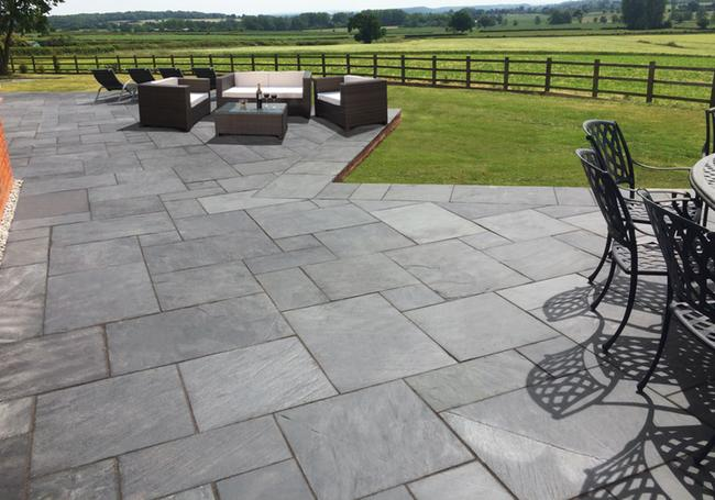 Slate Patio Slabs >> Black Brazilian Slate Paving Slabs Patio Packs Awbs