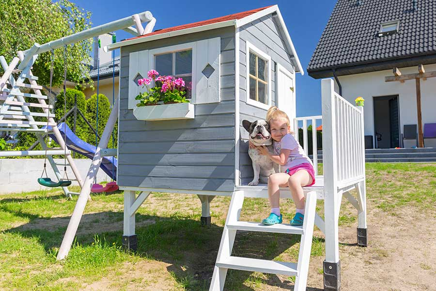 Childrens climbing frame and garden play house