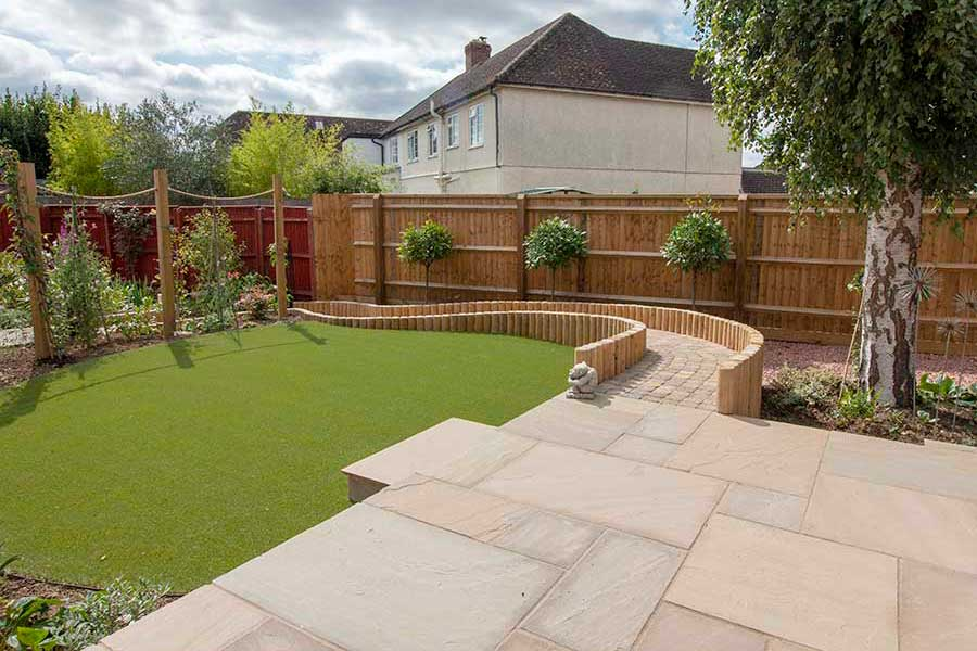 Curved garden features created by AWBS Landscaping